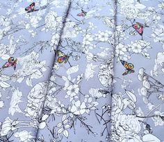 Glowing Lavender Floral Fabric 100/% Cotton Fat Quarter Bundle Metre Purple Ivory
