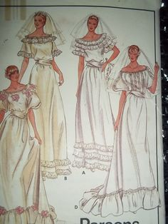 Misses Bride Bridal Gown, Bridesmaid dresses, Parsons School of Design, Butterick 3698 size 14 Sewing Pattern