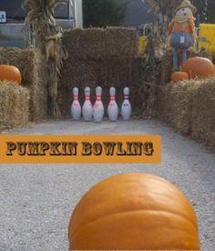 Pumpkin Bowling. Cute for fall festivals!