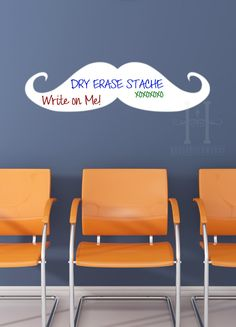 Mustache Dry Erase Wall Decal vinyl for home, office, dorm room and childrens decor. $29.00, via Etsy.