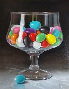 """Bowl Of Jelly"" oil/canvas, 20""x16"".  by George A. Gonzalez AVAILABLE-contact artist for inquiries."