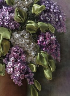 """Lilacs"" by Valentina Razenkova, ribbon embroidery (closeup)"