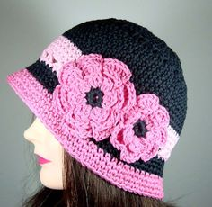 Cloche Hat with 2 Crocheted Flowers in Black and Pink    $34