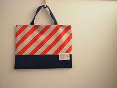 オレンジ 斜めストライプのレッスンバッグ Kids Bags, Handmade Bags, School Bags, Handicraft, Reusable Tote Bags, Textiles, Embroidery, Purses, Sewing