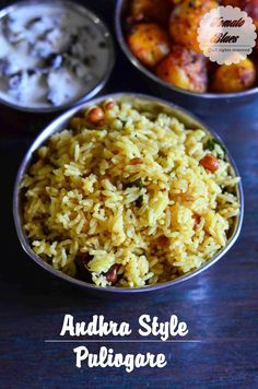 Andhra Puliohara - A spicy tangy rice with crunchy peanuts and freshly ground spices