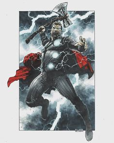 Thor (Avengers: Infinity War) - Dike Ruan, in T Shen's Commissions & Sketches - The Mighty Thor Comic Art Gallery Room Marvel Fan Art, Marvel Comics Art, Thor Marvel, Comic Books Art, Comic Art, Thor Drawing, Thor Tattoo, Drawing Superheroes, Asgard