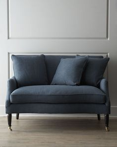Fleming Settee.  Small in size but big on impact, this handcrafted settee offers relaxed, casual comfort and cozy seating for two. (horchow.com)