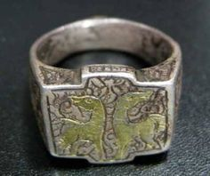 Seljuk Incised Silver Ring with Gold Inlay , Origin: Mediterranean, Circa: 1100 AD to 1400 AD