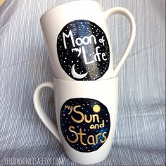 My Sun and Stars, Moon of My Life, Game of Thrones, Hand-Painted, Up-Cycled, One-of-a-Kind Set of 2 Mugs by Yellow Sun Lisa