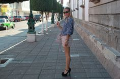 Gingham top with shorts and heels