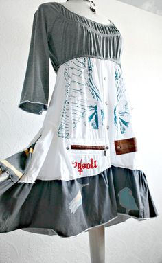 Gray Upcycled Dress Boho Chic Clothing White Angel Wings Peasant Style Gypsy Clothes Romantic Dress Women's Wear Small Medium 'PROVENCY'