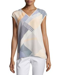 Bryson+Cap-Sleeve+Zaza+Striped+Silk+Blouse,+Multi+by+Lafayette+148+New+York+at+Neiman+Marcus.
