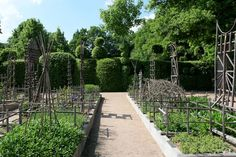 "Priory d' Orsan:  ""The medicinal garden. The handmade trellis is waiting for climbing vines to ascend. They make a lovely sculpture for the garden"""