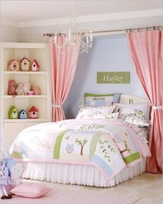 Add depth to the wall your bed is on without a headboard.  Just use curtains, and voila, the depth and visual interest is complete! Maybe for daughters room