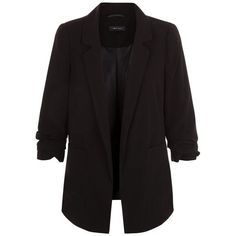 Blazer long noir à manches froncées ($30) ❤ liked on Polyvore featuring outerwear, jackets, blazers, tops, blazer, longline blazer, long blazer jacket, ruched sleeve blazer, long length blazer and long blazer