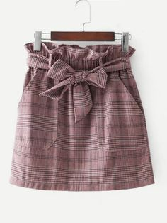 Shop Frill Waist Self Tie Plaid Skirt online. SheIn offers Frill Waist Self Tie Plaid Skirt & more to fit your fashionable needs. Skirts With Boots, Plaid Skirts, Plaid Outfits, Skirt Outfits, Outfit Jeans, Sewing Clothes Women, Clothes For Women, Look Fashion, Fashion Outfits