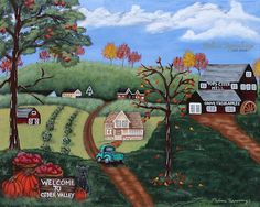 Hey, I found this really awesome Etsy listing at https://www.etsy.com/listing/256788250/original-folk-art-landscape-painting