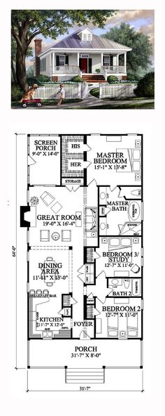 Colonial House Plan 57065 | Total Living Area: 1643 sq. ft., 3 bedrooms and 2 bathrooms. #colonialhome