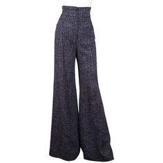 Pre-owned Chanel Tweed High Rise Wide Leg Pants