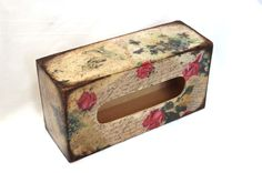 SelenarteDecoupage Vintage Style Tissue Box Cover Ł23.50 - check out #homewares @ #CRAFTfest #etsy