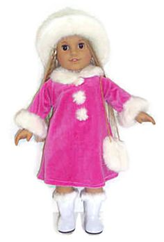 "Pink Dress with Fur Trim, Hat, & Purse made for 18"" American Girl Doll Clothes #DorisDollBoutique #DollClothes"