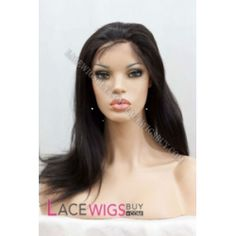 16 Yaki #1B Glueless Lace Front Wigs 100% Indian Remy Human Hair (GY0406)