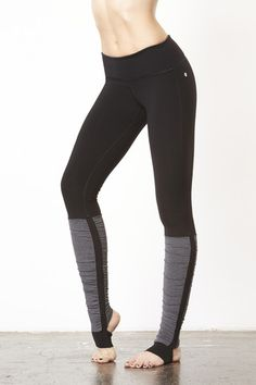 Vimmia Compression Stirrup Legging in Black with Heather Black Mini Stripe