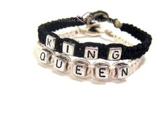 Boyfriend Gift, King Queen Bracelets for couples Black and White Hemp