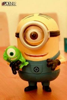Aww..he's got his very own Mike Wazowski..too cute :D