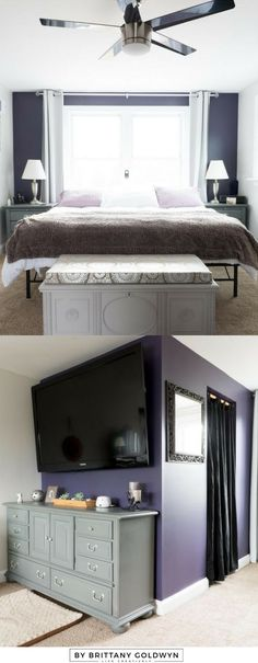 Fresh and easy updates to a dated master bedroom // Sherwin-Williams Quixotic Plum, Sherwin-Williams Basalt Powder, dark purple accent wall, purple and gray bedroom, Americana Decor Satin Enamels Dove Beige