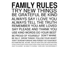 Family Rules Canvas Giclee I