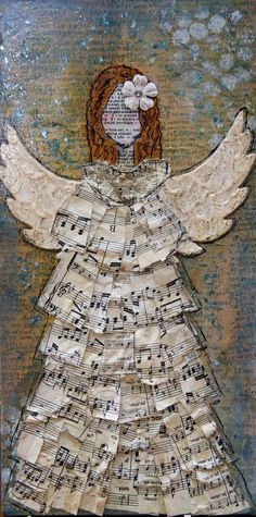 """Original Art on 6"""" X 12"""" canvas. Background is made from layers and layers of printed papers, vintage papers, ephemera, paint, ink, mica and hand doodling to give it a great texture.    Angel with Textured White Wings, and Vintage Sheet Music Dress with Glittery Collar. Background is covered with glittery blue mica chips."""