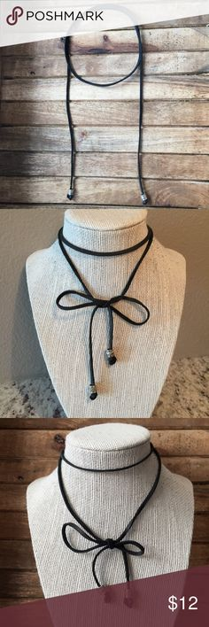 """Handmade Leather Choker Handmade leather choker necklace ➵ high quality black leather ➵  silver accent beads on ends ➵ handmade by me in El Paso, Texas ➵ approximately 38.5"""" long in length from end to end Simple Sanctuary Jewelry Necklaces"""