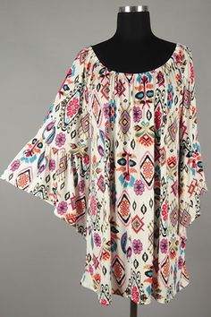 *** New Style *** Flirty Loose Fit Knit Tunic with Bell Sleeves and Elasticized Neckline in Scattered Boho Tribal Pattern Print.