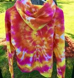 This size large sunset inspired tie dye pullover hoodie is on sale for only $39! This is the only one available in this awesome hot pink, orange & yellow design at https://www.etsy.com/listing/269435690/tie-dye-hoodie-size-large-tie-dye-hoodie