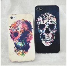 Punk Flower Skull Painted Iphone Cases For iphone 4/4s/5|Creative Iphone Cases - Iphone Accessories - ByGoods.com