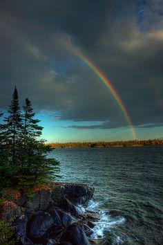 Rainbow over Raspberry Island, Isle Royale National Park, Michigan #puremichigan