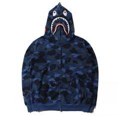 A Bathing Ape Long Sleeve Regular M Sweats & Hoodies for Men Bape Outfits, Kpop Fashion Outfits, Cool Outfits, Blue Bape Hoodie, Camo Hoodie, Camouflage, Bape Shark, Streetwear, A Bathing Ape