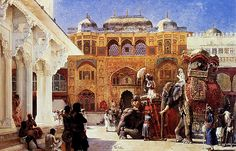 India by  Edwin Lord Weeks (1849-1903)  -       The Return of the Imperial Court from the Great Mosque at Delhi • The Rajah at the Palace of Amber (c.1888) • Elephants and figures in a courtyard , Fort Agra (c.1899)