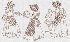 Country Baking Sunbonnet Sue Ladies Redwork Machine Embroidery Designs CD | eBay