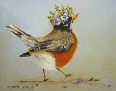 Queen Robin painting RESERVED for Monica original by 4WitsEnd