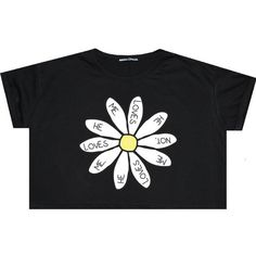 Daisy Flower Crop Top T Shirt Tee Womens Girl Funny Fun Tumblr Hipster... (€15) ❤ liked on Polyvore featuring tops, t-shirts, shirts, crop tops, black, sweater vests, sweaters, women's clothing, sweater vest and daisy t shirt