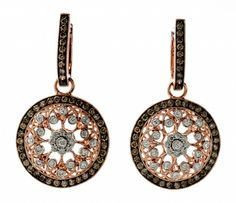 These 18k white and rose gold earrings contain 1.15 ctw of brown diamonds and .40 ctw of white round diamonds.