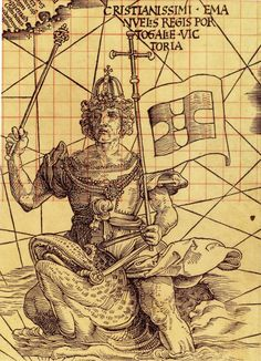 """""""King Manuel of Portugal riding a sea creature off the southern tip of Africa, symbolizing Portugal's control of the seas, on Martin Waldseemüller's 'Carta Marina' of 1516 (Library of Congress)"""""""