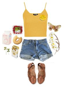 """""""6:00 am"""" by unwriteable ❤ liked on Polyvore featuring Topshop, Levi's and Forever 21"""