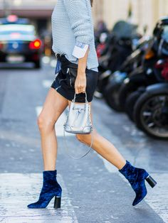 Style Notes: You don't need deep pockets to tap into the velvet ankle boots trend. Wear them with bare legs if you dare, or chose a rich jewel tone to artfully offset frayed-hem denim.