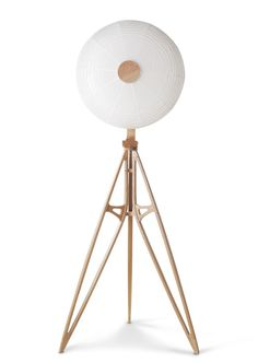 Kyoto Lamp designed by OeO for Stellar Works Lamp Design, Lighting Design, Stellar Works, Industrial, Light My Fire, Light And Space, Wood Lamps, Tripod Lamp, Art Decor