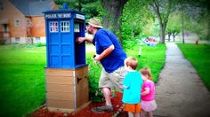 TARDIS themed geocache and Little Free Library