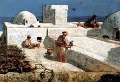 Algérie - Peintre Français  Eugène  Fromentin(1820 - 1876) ,huile sur toile,Titre :Homme Badigeonnant sa maison à Alger