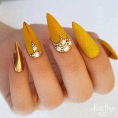 """your success is our reward"" – Ugly Duckling Nails Inc. Beautiful mustard nails by Ugly Duckling Benelux Distributor and Family Member 😍Ugly Duckling Nails is dedicated to keeping love, support, and positivity flowing in our industry ❤️ Ongles Bling Bling, Bling Nails, Glitter Nails, My Nails, Shellac Nails, Stiletto Nails, Oval Nails, Fancy Nails, Cute Nails"